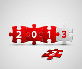 New Year 2013 card made from red and white puzzle pieces — Stock Vector