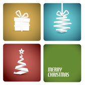 Vector christmas decoration made from white paper stripes — Vettoriale Stock