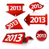 Red Vector 2013 Labels, stickers, pointers, tags — Vector de stock