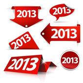 Rosso vettoriale 2013 etichette, adesivi, puntatori, tag — Vettoriale Stock