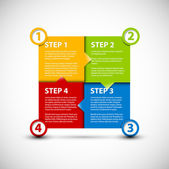 Jedna dva tři čtyři - vektorové papíru kroky — Stock vektor