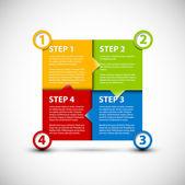 Uno dos tres cuatro - vector pasos de papel — Vector de stock