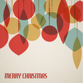 Retro Christmas card with christmas decorations — Vecteur