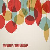 Retro tarjeta de navidad con adornos navideños — Vector de stock