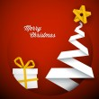 Simple vector red christmas card illustration — Stock Vector