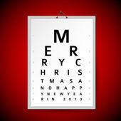 Vector Christmas eye test chart as xmas card — Stock Vector