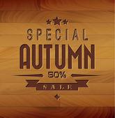 Autumn sale vector wooden background — Stock Vector
