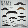 Retro, Vintage mustache set for happy movember day — Stock Vector