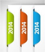 Vector 2014 Labels, Stickers on the edge of the (web) page — Stock Vector