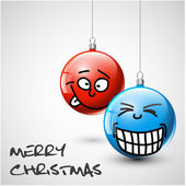 Funny Vector Christmas baubles with faces — Stock vektor