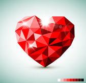 Röd diamant smycke hjärta — Stockvektor