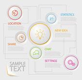 Cartel informe infografía con botones de círculo — Vector de stock