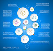 Infographic blue report poster with circles — Stock Vector