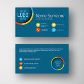 Modern blue business card template with flat user interface — Stock Vector