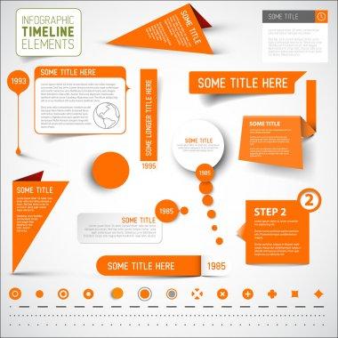 Orange infographic timeline elements