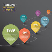 Infographic dark Timeline Template — Vector de stock