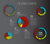 Donut pie chart templates — Stock Vector