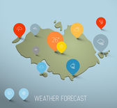 Weather forecast map with flat pointers and icons — Stock Vector