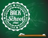 Back to school vector white illustration on a green chalkboard — Stock Vector
