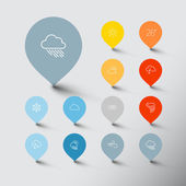 Minimalistic weather thin line pointer icon set — Stock Vector