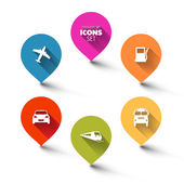 Conjunto de indicadores de transporte flat round — Vetorial Stock