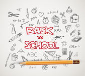 Back to school - set of school doodle illustrations — Vector de stock