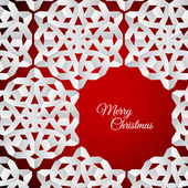 Paper christmas snowflakes on a red — Vettoriale Stock