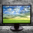 Stock Photo: Monitor with thepicture of of pure field against gray wall