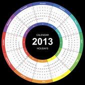 Vector calendar 2013 round wuth international holidays — Stock Vector