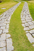 Curved cobblestone road — Стоковое фото