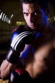 Ajuste combatiente con guantes de boxeo — Foto de Stock