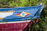 Terk edilmiş balıkçı teknesi renkli detay — Stok fotoğraf