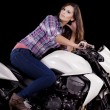 Beautiful girl next to a white motorbike -  