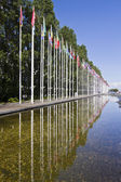 Long avenue of flags from various countries of the World — Stock Photo
