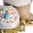 Sweet almonds and chocolate bunnies — Stock Photo #25120425