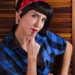 Pin-up girl happy with short hair. — Stock Photo