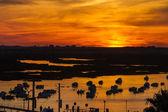 Vista de barcos de pesca ancorados — Fotografia Stock