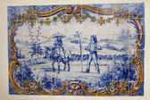 Hand painted azulejo piece — Stock Photo