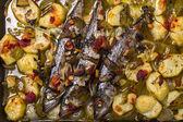 Makrela ryby z ziemniaków. — Zdjęcie stockowe