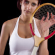 Beautiful young girl  playing tennis — Stock Photo #50635355