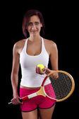 Beautiful young girl  playing tennis — Stock Photo