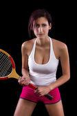 Beautiful young girl  playing tennis — Foto Stock