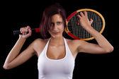Beautiful young girl  playing tennis — 图库照片