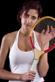 Beautiful young girl  playing tennis — ストック写真