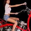 Постер, плакат: Pinup girl with custom chopper motorbike