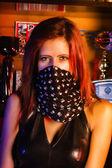 Adult Biker girl — Stock Photo