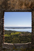 Window view of the beautiful Alqueva lake — Stock Photo