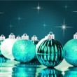 Blue decorative christmas ornaments with star background — Foto Stock