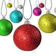 Colorful red green and other  christmas baubles balls with colorful background — Stock Photo