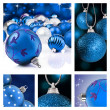 Collage of blue  christmas decorations on different backgrounds — Stock Photo